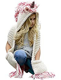 Crochet Cartoon Unicorn Winter Hat with Scarf Pocket...