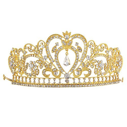 Whitelotous Silver Plated Diamond Jewelry Bride Crown Tiara Bride's Headdress - Gold by Whitelotous]()