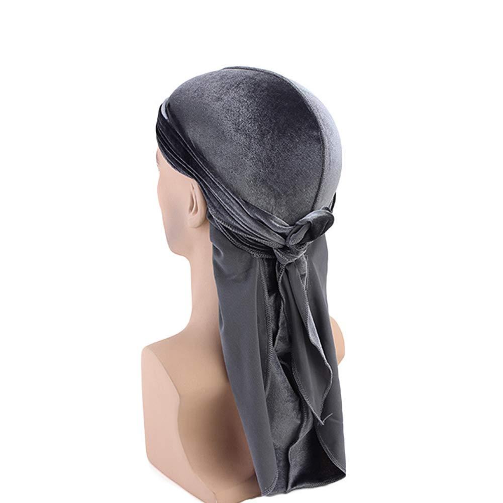 Ssowun Durag Unisex Long Tail Pirate Hat Hip hop Turban Chemo Headwear Velvet Durag f/ür Chemo Krebs Haarverlust EINWEG Verpackung