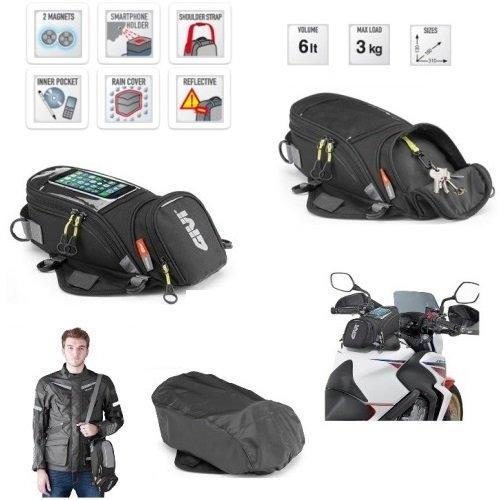 Givi EA106B Sac à Dos Universel pour réservoir de Moto avec aimants et Sangles 130 x 160 x 310 mm