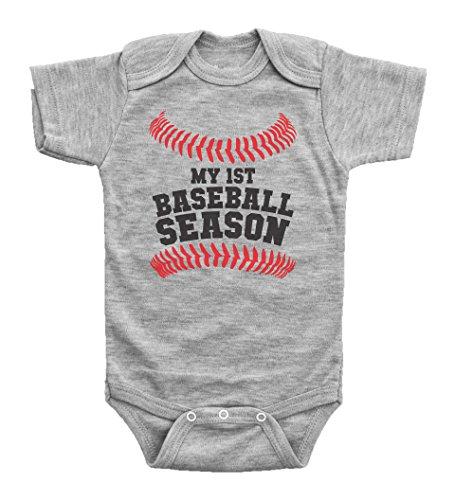 Baby Onesie Baseball - Baseball Baby Onesie / MY FIRST BASEBALL SEASON / Baby Bodysuit Outfit / Baffle (3M, GREY SHORT SLEEVE)