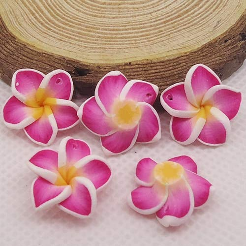 - Pukido 20pc/lot 20mm Yiwu Market Beautiful Soft Clay Polymer Fimo Plumeria Flower Beads Decorated Hawaii Earring Jewelry Craft Material - (Color: Rose red)