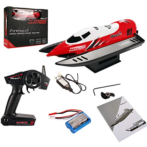 Costzon 2.4G Brushed Remote Control Racing Boat, Formula1 F1 Li-Po Battery High Speed Pool RTR RC Boat Red