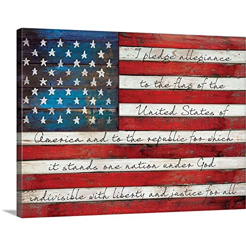 Pledge of Allegiance Canvas Wall Art Print, 16 x12 x1.25
