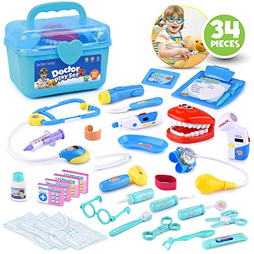 Educational Doctor Medical Pretend Play Toy Set in Storage Box 34 Pcs – Battery Operated Tools with Lights & Sounds – Promote Learning, Hand to Eye Coordination, Fine Motor -