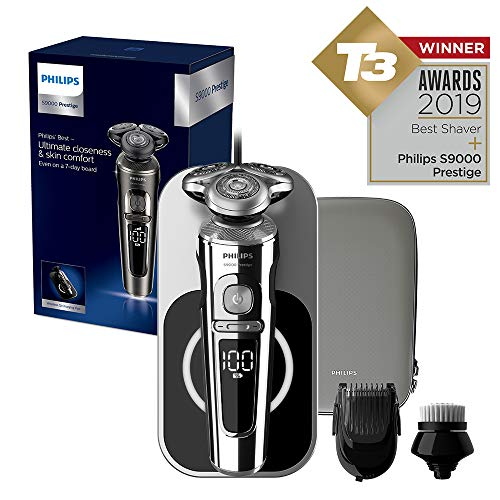 Philips Series 9000 Prestige Wet & Dry Electric Shaver with Qi Charging Pad, Smartclick Beard Styler and Facial Cleansing Brush - SP9863 (S9000 Prestige + Cleansing Brush + Charging Pad)
