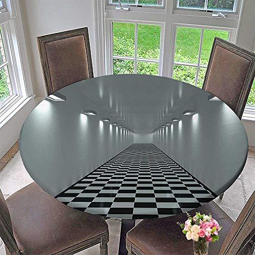 Circular Table Cover Collection Long Corridor Ceiling Lights Tiled Floor Minimalistic Design Office Interior Art Grey for Wedding/Banquet 35.5