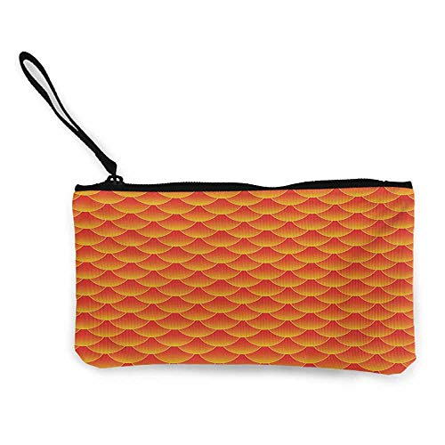 Zip coin purse Orange,Goldfish Scales Forming Scallop Shell Random Pattern Fortune Fun Abstract Design,Burnt Orange W8.5