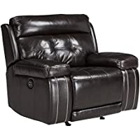 Ashley Furniture Signature Design - Graford Leather Power Recliner w/ Adjustable Headrest - Contemporary - Walnut
