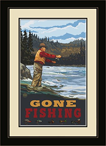 Northwest Art Mall PAL-0870 FGDM FFSH Gone Fishing Fly Fisherman Stream Hills Framed Wall Art by Artist Paul A. Lanquist, 16 by - Mall Hills Green Of
