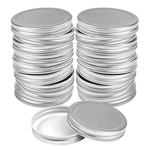 Resinta 20 Pack Wide Mouth Mason Jar Lids Silicone Seals Leak Proof Secure Mason Storage Solid Caps(Silver, Wide Mouth) (Silver)