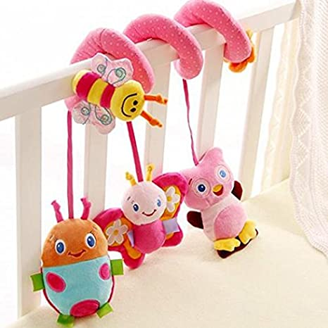 Morbuy Baby Pushchair Toys Pushchair Baby Toys with Bell Baby Plush Toy Cartoon Animal Rattle Doll Clip on Pram Toys Bee
