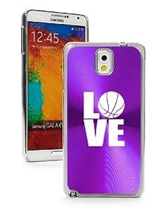 Samsung Galaxy Note 3 III Purple 3F728 Aluminum Plated Hard Case Love Basketball
