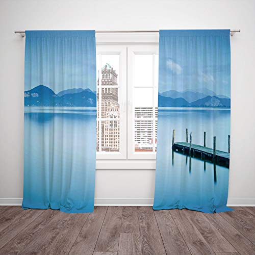 2 Panel Set Window Drapes Kitchen Curtains,Summer Wooden Pier Jetty Lake Sky Reflection on Water Serene Tranquil Summer View Print Light Blue,for Bedroom Living Room Dorm Kitchen Cafe -