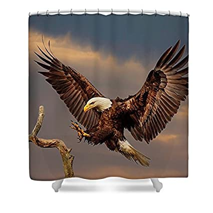 ChadMade Fabric Waterproof Flying Eagle Shower Curtain In 72quot W X L With