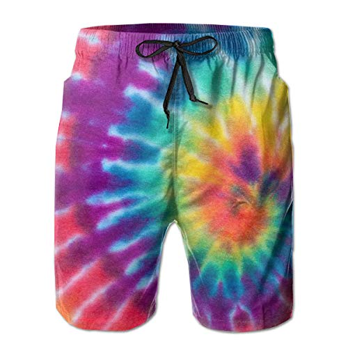 FANTASY SPACE Comfort Beach Cargo Short for Men, Spiral Tie Dye Swim Shorts Quick Dry Hip-Pop Half Pants with Full Elastic Drawstring Regular & Extended Sizes Swimwear for ()