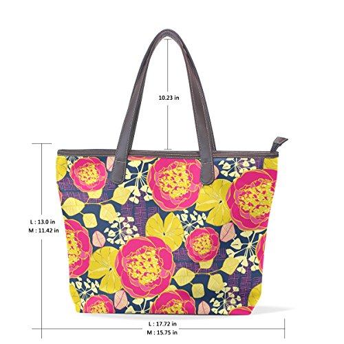 COOSUN Womens Red Floral Pattern Pu Leder Große Einkaufstasche Griff Umhängetasche