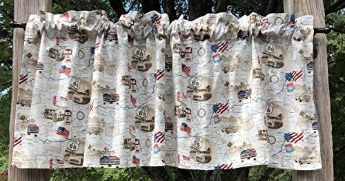 (Rt 66 Road Map Trip USA American Transportation Travel Routes Flag Truck Van Cream Tan Handcrafted Curtain Valance)