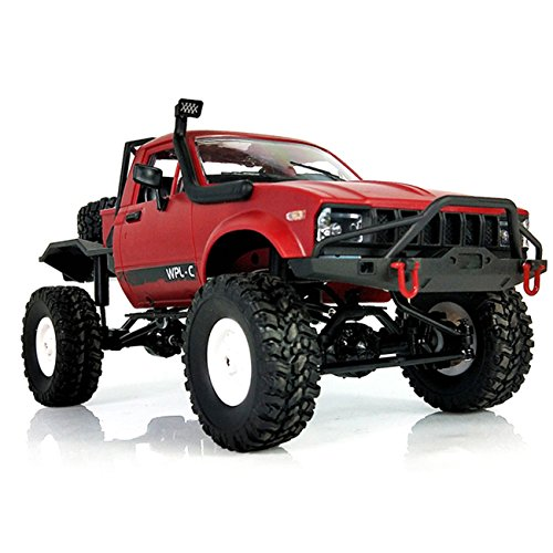 YIKESHU C-14 Remote Control Off-Road Racing Vehicles 1:16 2.4G 2CH 4WD Off-road Kids RC Toy Climb Semi Truck RTR Trailer(Red)