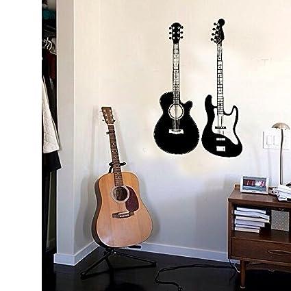 Rock guitarra eléctrica niños dormitorio dormitorio cama carteles de papel tapiz personalizado con su propia puerta