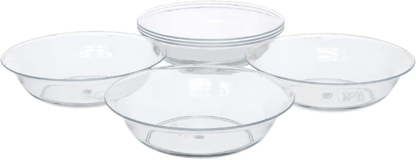 """8"""" Clear Acrylic Deep Pie Plate, Floral Flower Dish, Wedding, Party, Home and Holiday Decor, 6 Pack"""