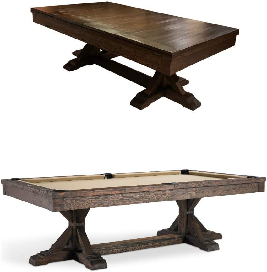 Plank & Hide Thomas Pool Table with Dining Top - 8' Slate Pool Table with Premium Accessories - Installation Included