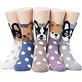 Ladies/Womens Cute Socks, Dog Design Casual Comfortable Cotton Crew Socks Stockings US size 5-9