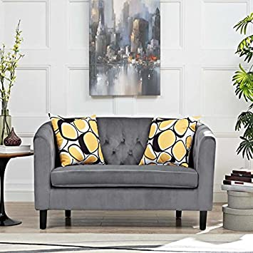 Modway Prospect Velvet Upholstered Contemporary Modern Loveseat In Gray