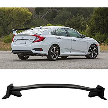 IKON MOTORSPORTS Trunk Spoiler Fits 2016-2018 Honda Civic 4Dr Sedan | TR Unpainted ABS Rear Spoiler Wing Deck Lid
