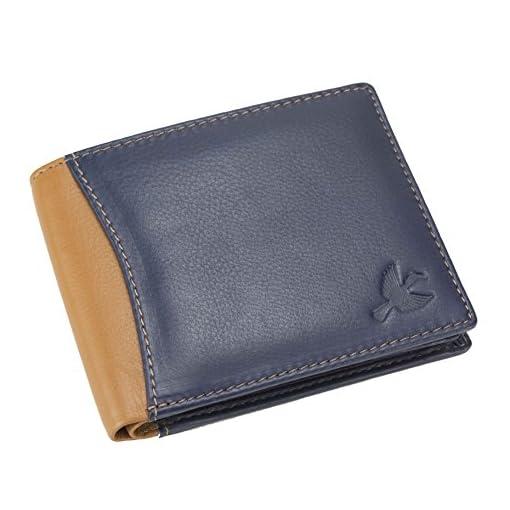 Hornbull Mens Navy/Tan Leather Wallet