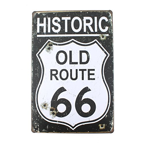 - 12x8 Inches Pub,bar,beverage,beer Series Wall Decor Hanging Metal Tin Sign Plaque (HISTORIC OLD ROUTE 66)