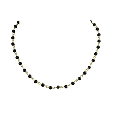 Amazon.com  Feelontop Small Black Blue Color Beads Design Gold Chains  Choker Collar Necklaces with Jewelry Pouch (Black)  Jewelry 39b3682ee98f