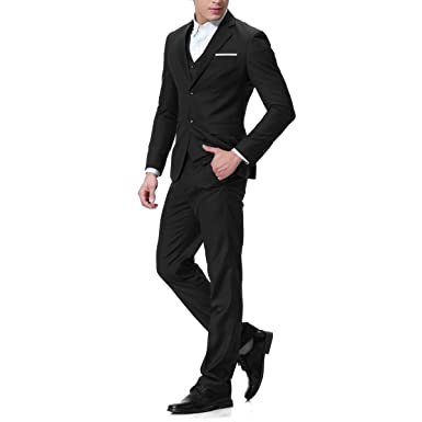 Men's Modern Fit 3-Piece Suit Blazer Jacket Tux Vest & Trousers at ...