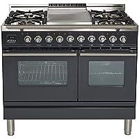 Ilve UPDW100FDMPM Pro Series 40 Dual Fuel Double Oven Range Griddle, Convection Oven, Warming Drawer Matte Graphite
