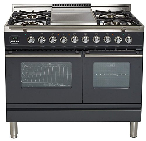 Dual Double Fuel Range - Ilve UPDW100FDMPM Pro Series 40 inch. Dual Fuel Double Oven Range Griddle Convection Storage Drawer Matte Graphite