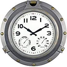 "Poolmaster 52538 18"" Silver Porthole Clock/Hygrometer, Thermometer"