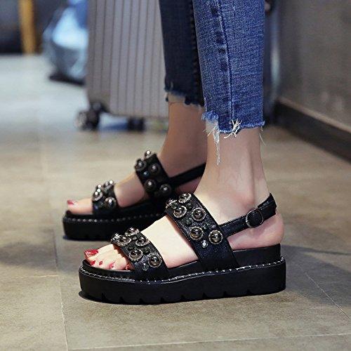 Diamantes negro Moda QQWWEERRTT Mujer Verano Nuevo con Sandalias Romanos Altos Cómoda Zapatos Universal Plataforma Gradiente Zapatos xRZ7wUxC
