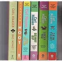 CARL HIAASEN - Set Of 6 Books - Star Island - Hoot - Lucky You - Skin Tight - Skinny Dip - Bad Monkey.