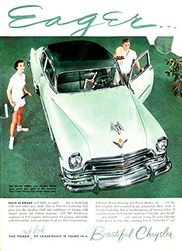 Collectible Club Coupe - 1954 CHRYSLER NEW YORKER DeLUXE CLUB COUPE in SEA ISLAND GREEN over VALLEY GREEN