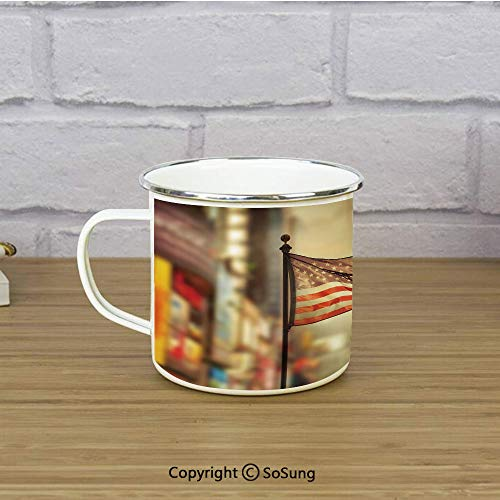 United States Enamel Coffee Mug,American Flag Waving in City National Independence Day Celebration Theme,11 oz Practical Cup for Kitchen, Campfire, Home, TravelSepia Red Blue (Games For Independence Day Celebration In Office)