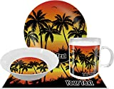 Tropical Sunset Dinner Set - 4 Pc (Personalized)