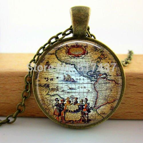 Pretty Lee Q-00100 Antique Old World Map Circa 1500 Pendant Necklace-Americas Explorers Globe Pendant Necklace-World Map Pendant (Card Wham Christmas)
