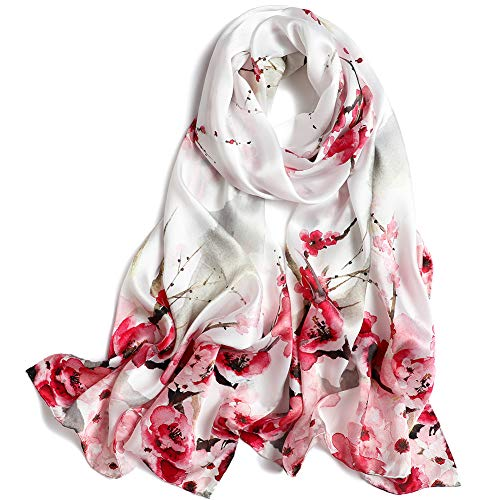 Women's 100% Mulberry Silk Scarf Floral Print Satin Long Scarf Wrap Shawl (Pxdy4)