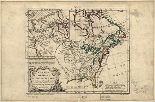 1762 Map of French possessions Canada & Louisiana Canada, Louisiane, possessions