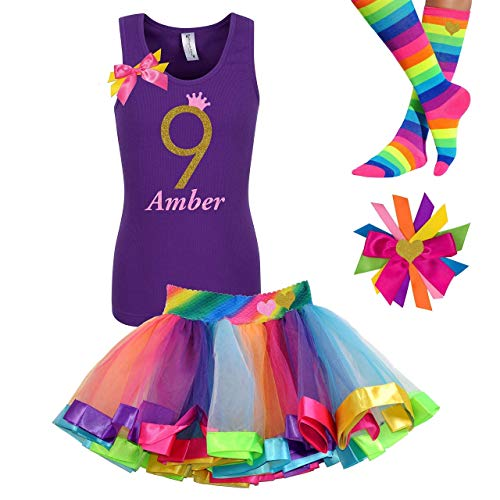 9th Birthday Girl Outfit Kids Rainbow Tutu Party Gift Set Gold Glitter 9 Purple Tank Top Shirt -