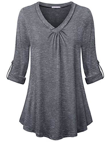 Furnex 3/4 Sleeve Blouse Shirts, Tunic Tops for Leggings for Women Plus Size for Spring Henley Long Sleeve Shirts V-Neck Loose and Fit Knit T-Shirt Blouse Top Dark Grey ()