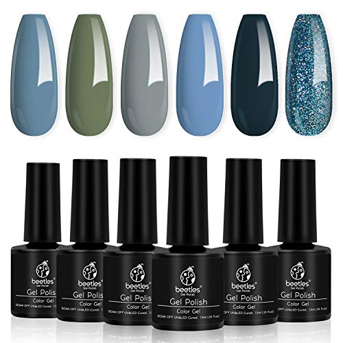 Beetles 6 Colors Gel Nail Polish Set - Grey and Nude Blue Glitter Gel Polish Kit Soak Off Nail Gel Polishes Set Fall Winter Gel Nail Kit Gifts Box for Manicure Nail Art Salon, 7.3ml Each Bottle