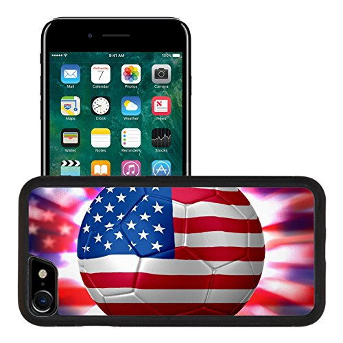 Luxlady Premium Apple iPhone 7 Aluminum Backplate Bumper Snap Case IMAGE ID: 29652906 USA Soccer world cup