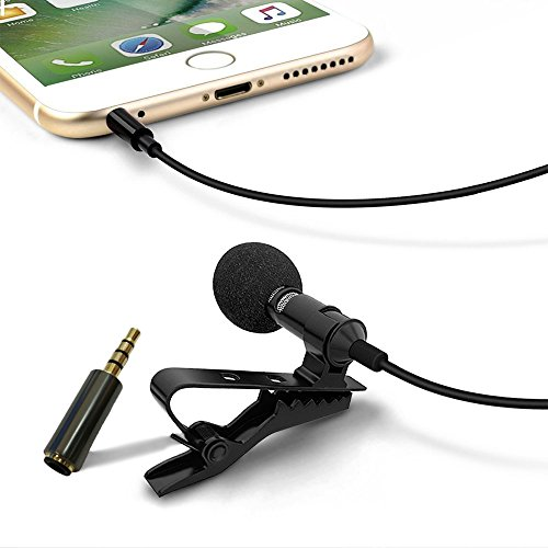 Lavalier microphone, ashina Mic Microphone Professional Design with 1 Adapter for Apple Products iPhone and Android Smartphone