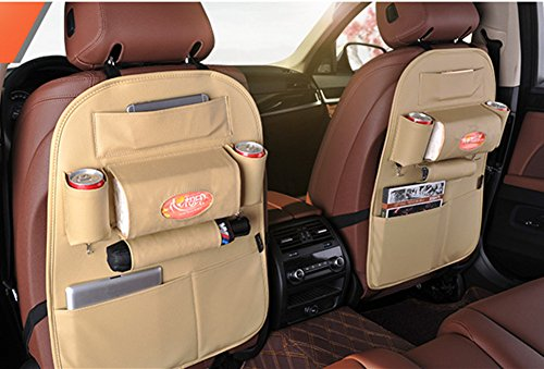 Hever Car Backseat Organizer Faux Leather Seat Protector Auto Seat Back Protector, Kick Mat and Car Organizer 2pcs Set